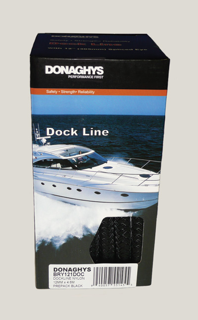 Dock Line Black Nylon 12mm X 4.6Mtr